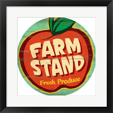 Framed Farm Stand Round Print