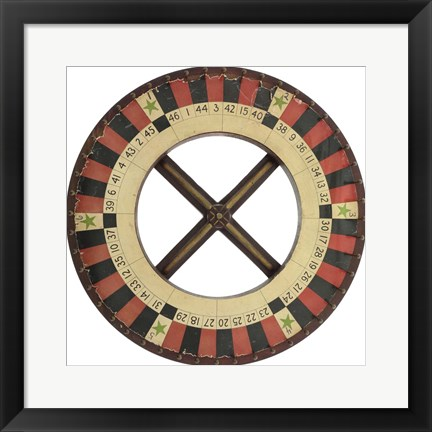 Framed Gambling Wheel - Red Black 1 Print