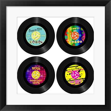 Framed 45 Records - Decades Print