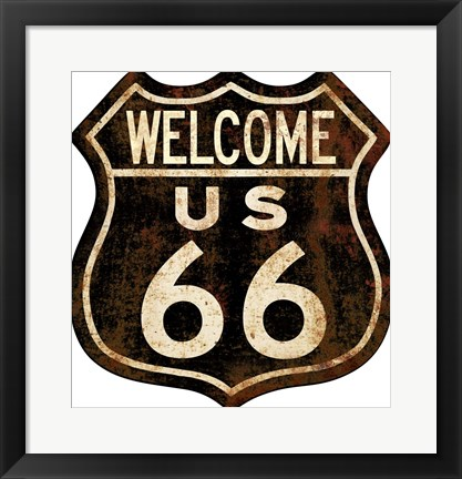 Framed Route 66 Distressed Welcome Print