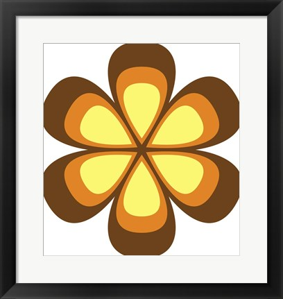Framed Mod Flowers Cut out Brown Print