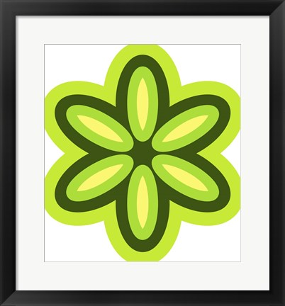 Framed Mod Flowers Cut out Green Print