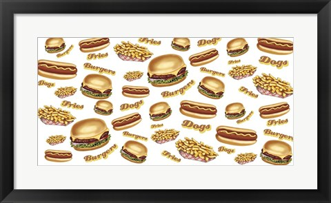 Framed Burgers Fries Dogs Print