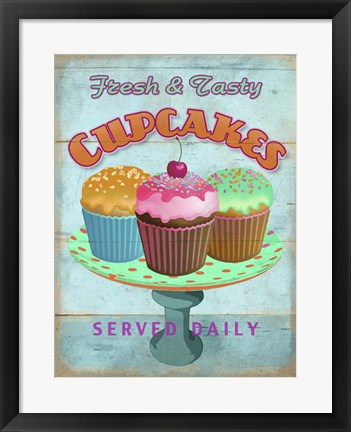Framed Cupcakes Retro Fresh Print