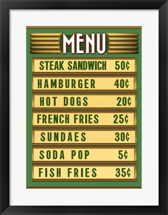 Framed Green Burger Joint Menu Print