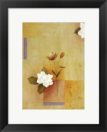 Framed White Flower on Lilac and Yellow 4 Print