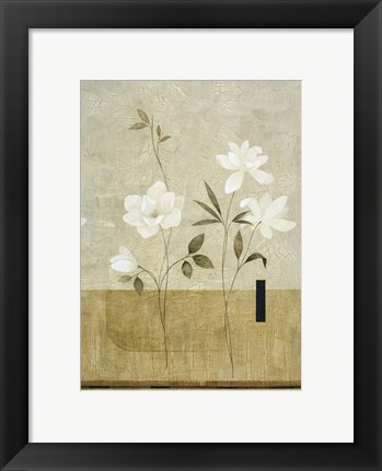 Framed White Flowers on Taupe 1 Print