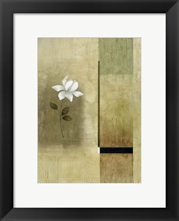 Framed White Flowers on Taupe 2 Print