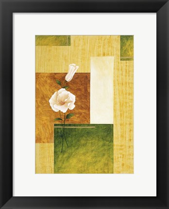 Framed White Flower on Green and Yellow 1 Print