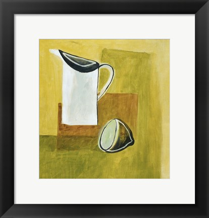 Framed Jug and Lemon 1 Print