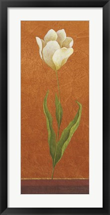 Framed Contemporary White Floral I Print
