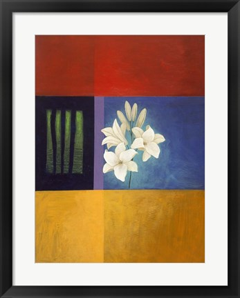 Framed White Flower Abstract 2 Print