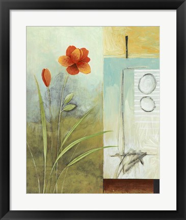 Framed Asian Floral Abstract I Print