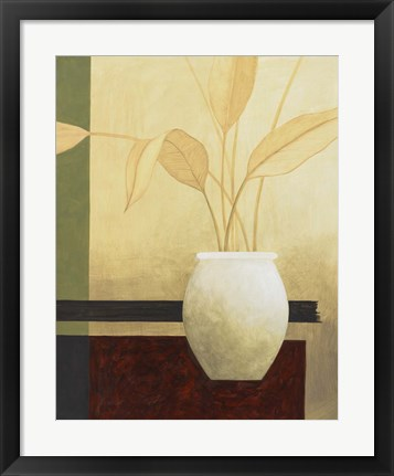 Framed Leaves and White Vase Print