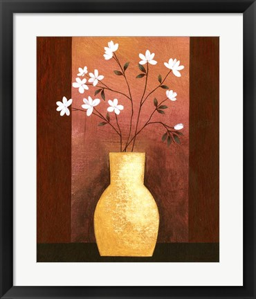 Framed Jug Floor Vase On Burgundy Print