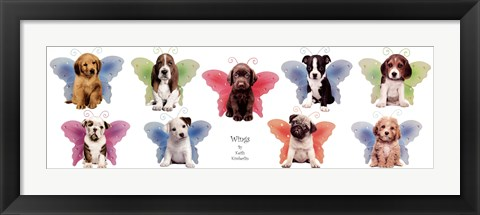Framed Wings Puppy Panel Print
