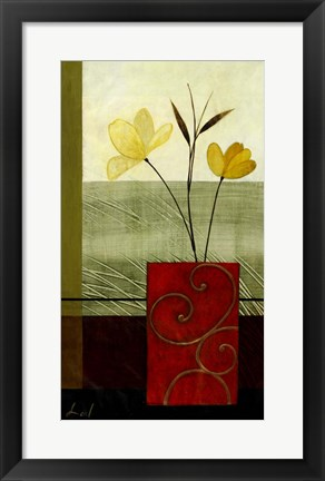 Framed Yellow Blooms I Print
