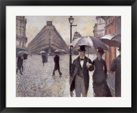 Framed Paris, A Rainy Day, 1877 Print