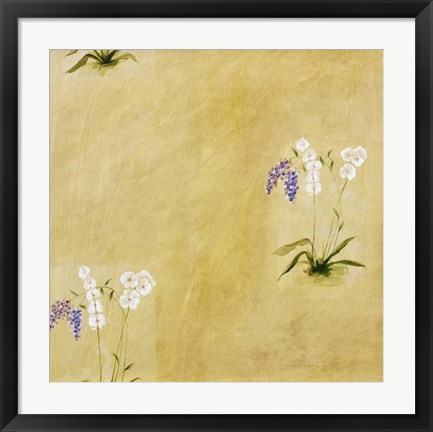 Framed White and Lilac Flowers Print