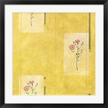 Framed Pink Flower on Yellow Print