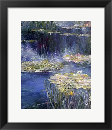 Framed Pond and Lilly Print