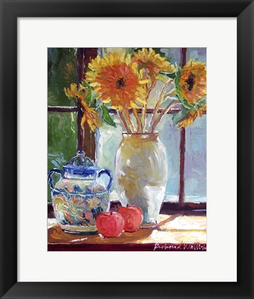 Framed Sunflowers In A Vase Print