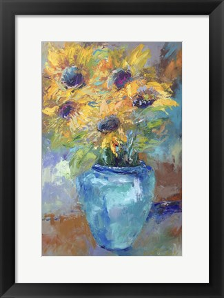 Framed Sunflowers With Light Blue Print