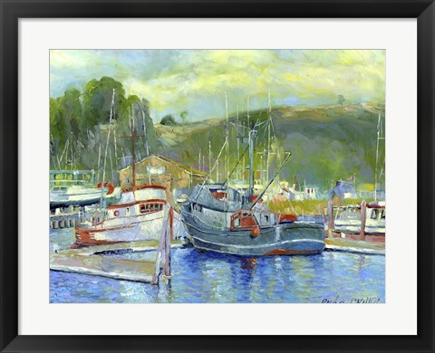 Framed Fishing Boats On Oregon Coast 1 Print
