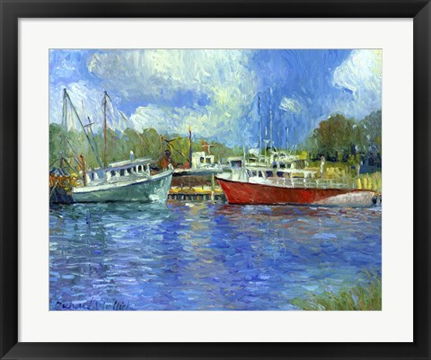 Framed Wickford Boats Print