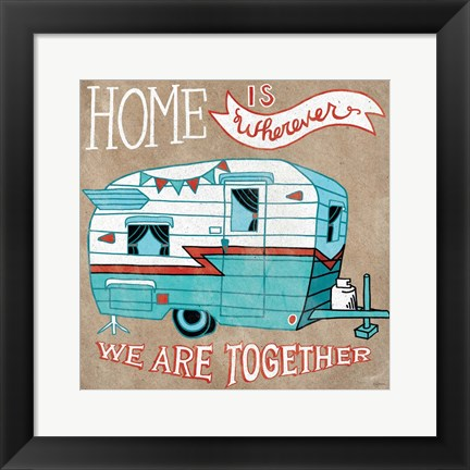 Framed Adventure Love Camper Taupe Print