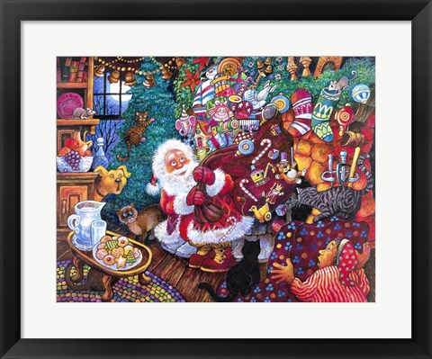 Framed Santa Arrives Print