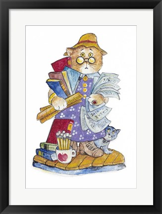 Framed Teacher Cat Print