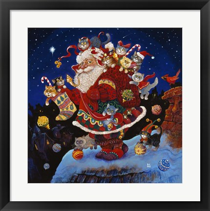 Framed Here Comes Santa Claus Print
