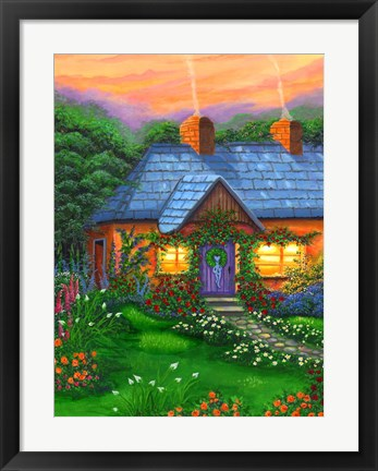 Framed Rose Cottage Print
