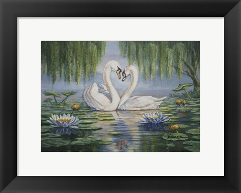 Framed Swan Love Print