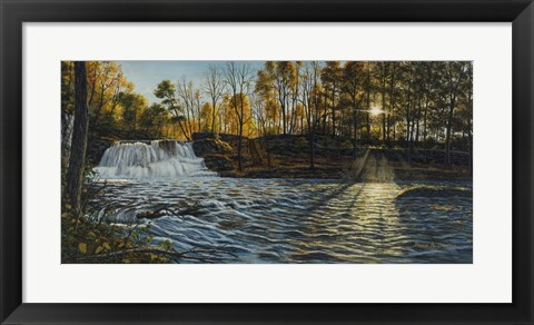 Framed Sunset At Wadsworth Falls Print