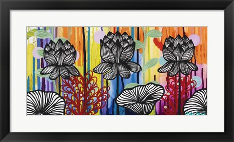 Framed Colorful Lotus Print