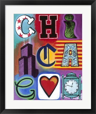 Framed Chicago Flag Print