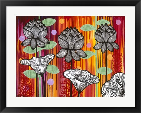 Framed Six White Stripe Flowers Print