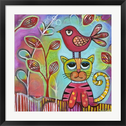 Framed Bird Cat Print