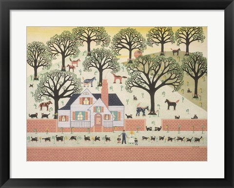 Framed Brick Farm Print