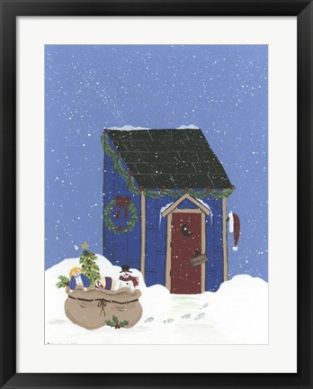 Framed Blue Outhouse Print