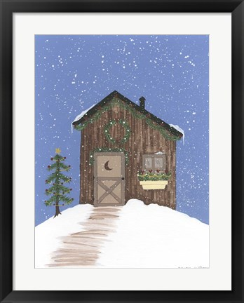 Framed Brown Outhouse Print