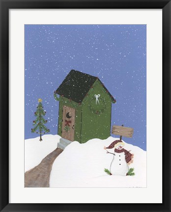 Framed Dark Green Outhouse Print
