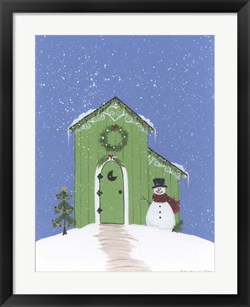 Framed Light Green Outhouse Print