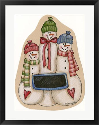 Framed Three Snowmen Print