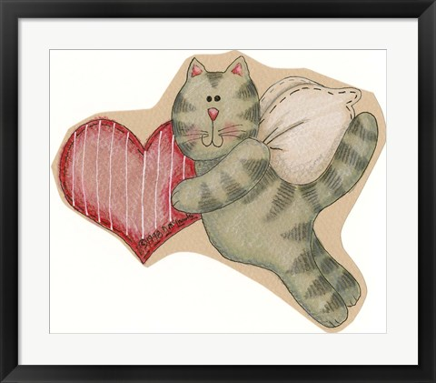 Framed Angel Cat Holding Heart Print
