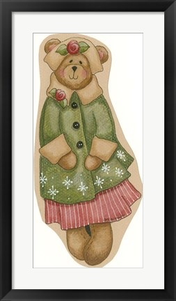 Framed Green Coat Girl Bear Print