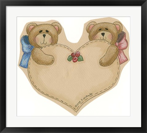 Framed Twin Bears With Heart Print