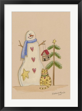 Framed Snowman With Cat Print